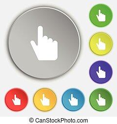 lakás, buttons., cégtábla., kurzor, vektor, öt, jelkép, ikon