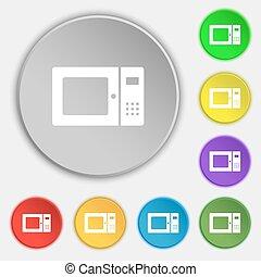 lakás, buttons., cégtábla., mikrohullám, vektor, nyolc, jelkép, ikon