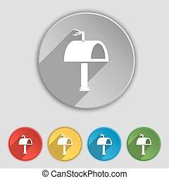 lakás, buttons., cégtábla., postaláda, vektor, öt, jelkép, ikon