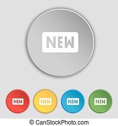 lakás, buttons., cégtábla., vektor, öt, új, jelkép, ikon