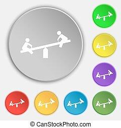 lakás, buttons., cégtábla., vektor, öt, hinta, jelkép, ikon