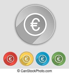 lakás, buttons., cégtábla., vektor, öt, ikon, jelkép, euro