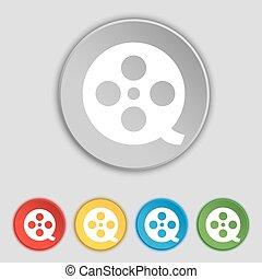 lakás, buttons., cégtábla., vektor, öt, jelkép, film, ikon