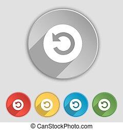 lakás, buttons., cégtábla., vektor, öt, jelkép, ikon