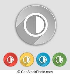 lakás, buttons., cégtábla., vektor, öt, jelkép, szembeállít, ikon