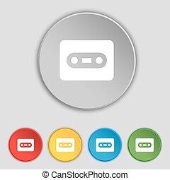 lakás, buttons., cégtábla., vektor, öt, kazetta, jelkép, ikon