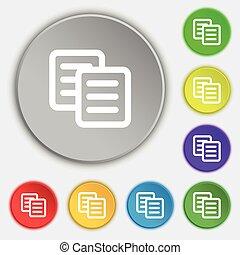 lakás, buttons., cégtábla., vektor, öt, másol, jelkép, ikon