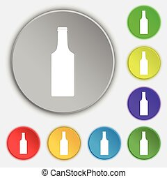 lakás, buttons., cégtábla., vektor, öt, palack, jelkép, ikon