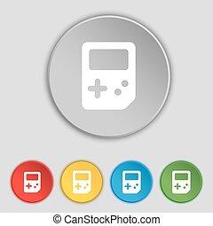 lakás, buttons., cégtábla., vektor, öt, tetris, jelkép, ikon