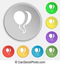 lakás, buttons., cégtábla., vektor, nyolc, ikon, jelkép, balloon