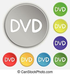 lakás, buttons., dvd, cégtábla., vektor, öt, jelkép, ikon