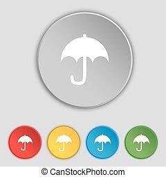 lakás, buttons., esernyő, cégtábla., vektor, öt, jelkép, ikon