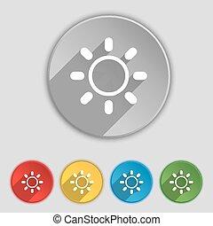 lakás, buttons., fényesség, cégtábla., vektor, öt, jelkép, ikon