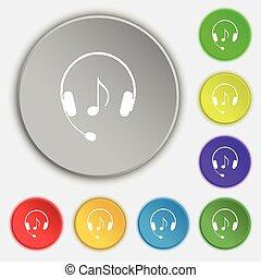 lakás, buttons., fejhallgatók, cégtábla., vektor, öt, jelkép, ikon