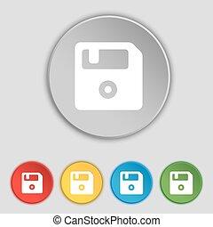 lakás, buttons., floppy, cégtábla., vektor, öt, jelkép, ikon