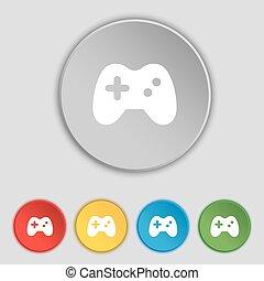 lakás, buttons., jelkép, vektor, öt, botkormány, cégtábla., ikon