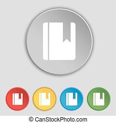 lakás, buttons., könyvjelző, cégtábla., jelkép, vektor, öt, könyv, ikon