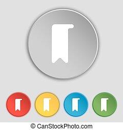 lakás, buttons., könyvjelző, cégtábla., vektor, öt, jelkép, ikon
