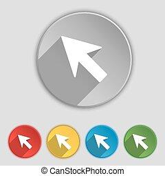 lakás, buttons., kurzor, cégtábla., vektor, öt, nyíl, jelkép, ikon