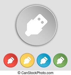 lakás, buttons., usb, jelkép, vektor, öt, cégtábla., ikon