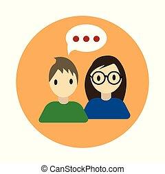 lakás, coworking, white háttér, beszélgetés