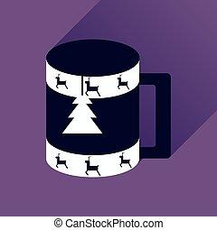 lakás, csésze, hosszú, árnyék, karácsony, ikon