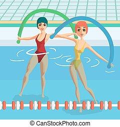 lakás, csoport, pool., foglalt, ábra, víz, noodles., vektor, testedzés, aerobic, állóképesség, classes., karikatúra, nők