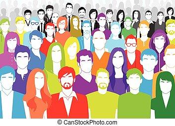 lakás, csoport, színes, tolong, emberek, nagy, arc, különböző, etnikai