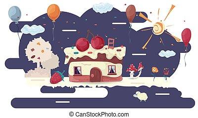 lakás, cukrászsütemény, épület, ábra, cupcake, tisztás, menstruáció, vektor, tervezés, tető, bitófák, cseresznye, glazureva, két