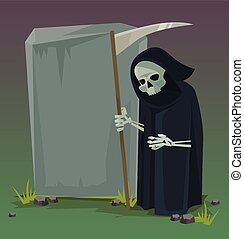 lakás, death., vektor, karikatúra, angyal