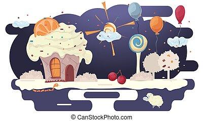 lakás, dekoráció, léggömb, cukorbevonat, épület, ábra, cupcake, tisztás, menstruáció, vektor, tervezés, tető, narancs, bitófák, torta