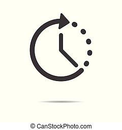 lakás, egyszerű, -, elszigetelt, háttér, vektor, tervezés, idő, fehér, ikon