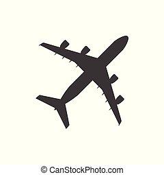 lakás, egyszerű, -, elszigetelt, repülőgép, háttér, vektor, tervezés, fehér, ikon