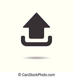lakás, egyszerű, -, feltölt, elszigetelt, háttér, vektor, tervezés, fehér, ikon