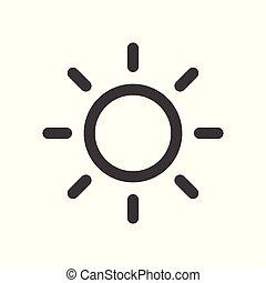 lakás, egyszerű, nap, -, elszigetelt, háttér, vektor, tervezés, fehér, ikon