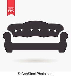 lakás, egyszerű, pamlag, elszigetelt, aláír, háttér., vector., fehér, design., ikon