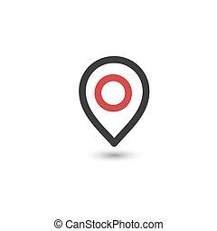 lakás, egyszerű, részvény, térkép, árnyék, gombostű, fehér, ábra, style., aláír, ikon, elhelyezés, ovális, szürke, háttér., elszigetelt, vektor