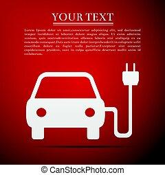 lakás, elektromos, gépi erejű, autó, jelkép, ábra, háttér., vektor, piros, ikon