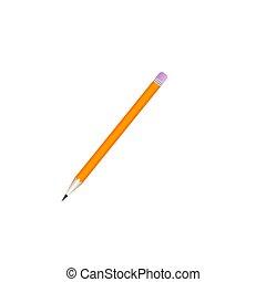 lakás, elszigetelt, vektor, tervezés, háttér, fehér, pencil., ikon