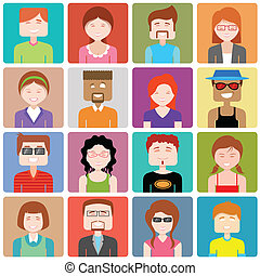 lakás, emberek, tervezés, ikon