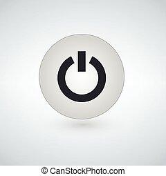 lakás, erő, egyszerű, gombol, elszigetelt, háttér, vektor, tervezés, ikon, fehér