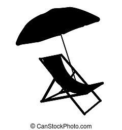 lakás, esernyő, ábra, sunbed, vektor, icon., silhuette