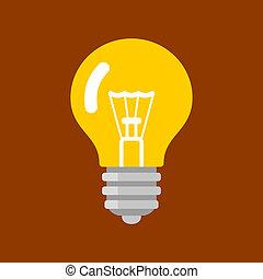 lakás, fény, concept., alakít, vektor, gumó, ihlet, style., ikon