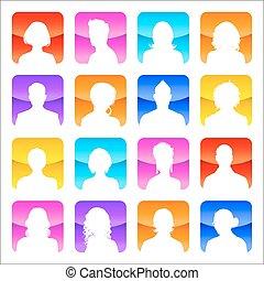lakás, fényes, elpirul háttér, avatars