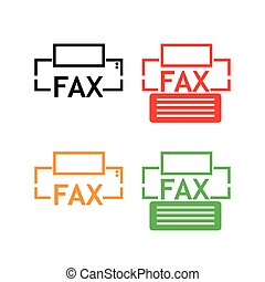 lakás, fax, háttér., vektor, fehér, ikon, design.