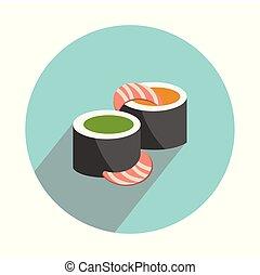 lakás, fehér, állhatatos, sushi, háttér