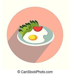 lakás, fehér, sült tojás, háttér