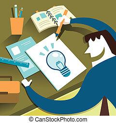 lakás, fogalom, ábra, kreatív, tervezés, ihlet