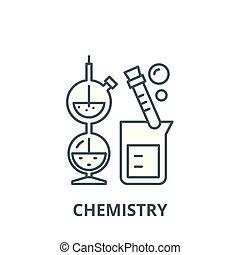 lakás, fogalom, áttekintés, aláír, ábra, jelkép, vector., ikon, egyenes, kémia