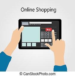 lakás, fogalom, bevásárlás, ábra, vektor, online